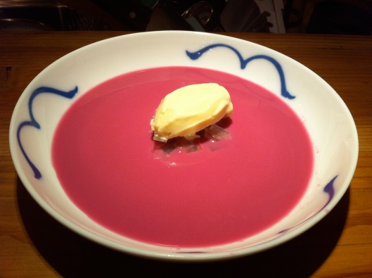 Red Cabbage Gazpacho with Pommery Mustard Ice Cream