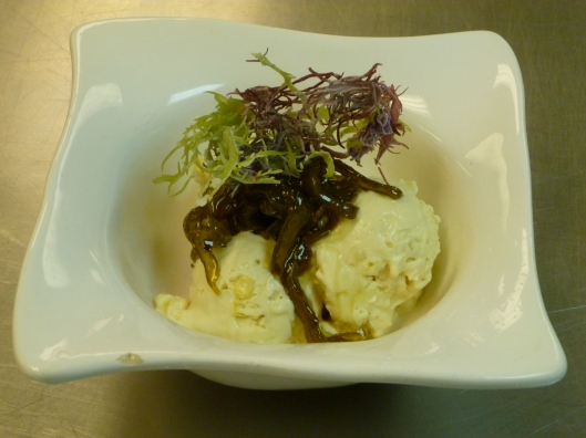 Liquid Nitrogen Corn Ice Cream with Carmelized Cactus and Seaweed
