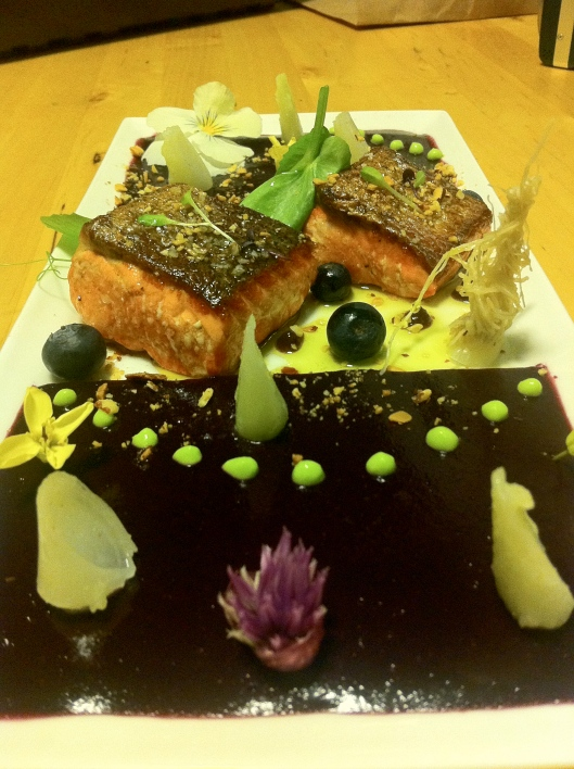 Copper Salmon, Butter Poached Leeks, Flowers