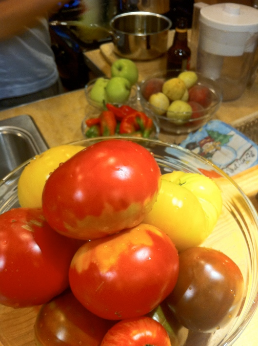Fresh Tomatoes, Peppers and Apples