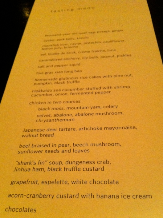 The Benu Tasting Menu