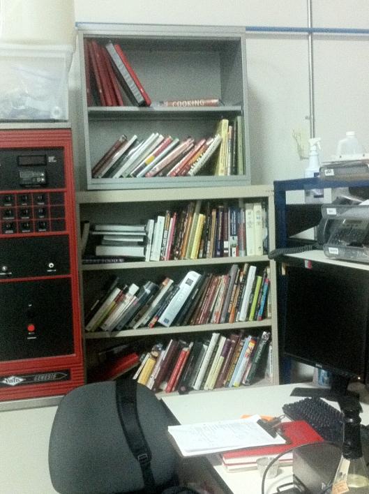 Desk and Cookbooks