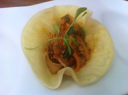 "Rabbit ""taco"" in Salmorejo style"